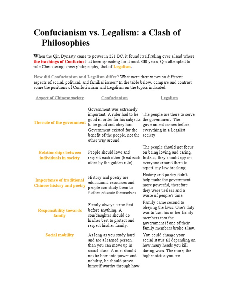 confucianism and legalism similarities What are the differences between daoism and confucianism similarities and differences regarding confucianism legalism and daoism.
