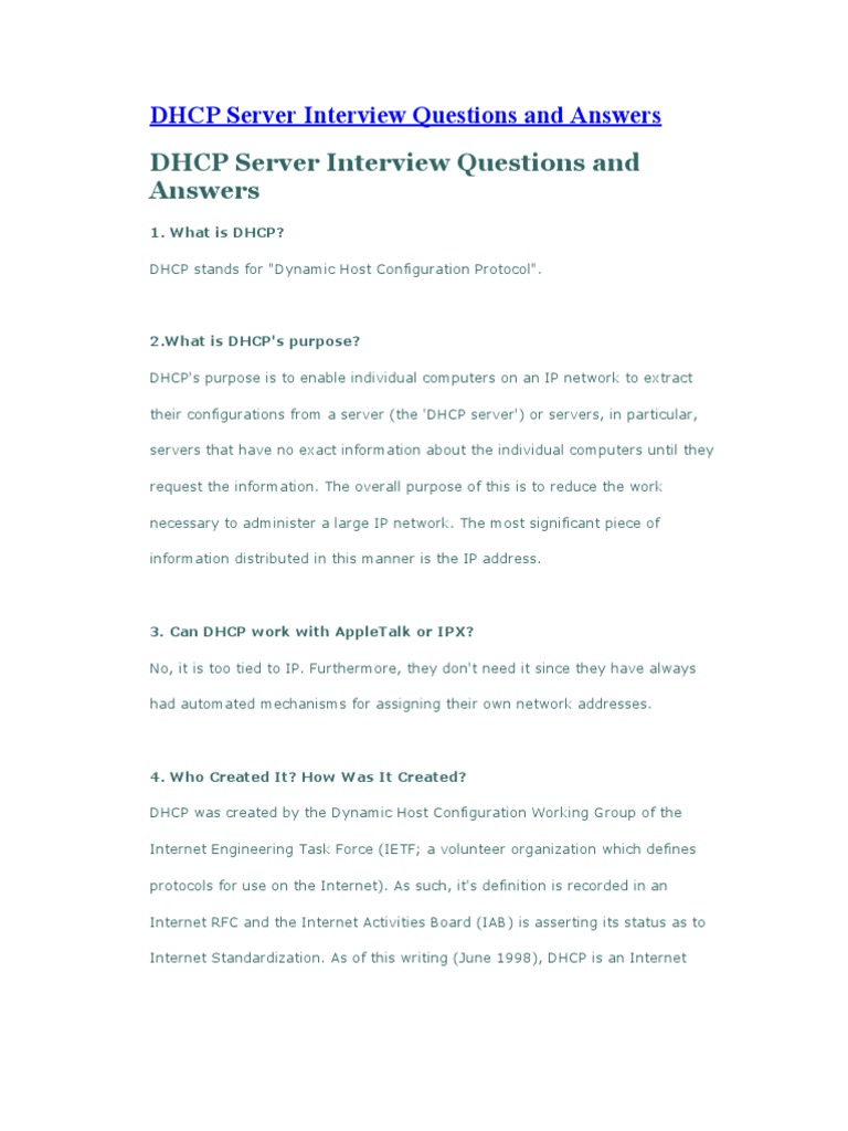 DHCP Server Interview Questions And Answers | Ip Address | Computer Network  Server Interview Questions