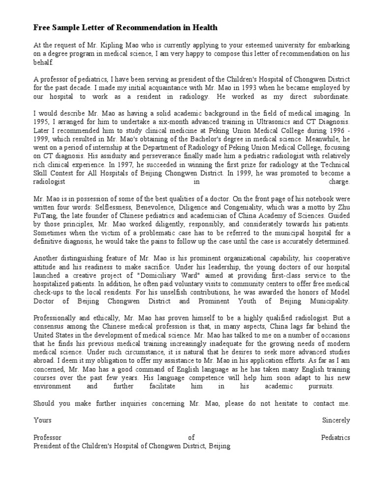 Free sample letter of recommendation in healthscince and free sample letter of recommendation in healthscince and engineering radiology mao zedong altavistaventures Image collections