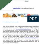 How to Update Kaspersky Antivirus Manually