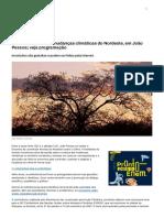 Conferência debate mudanças climáticas do Nordeste, em João Pessoa; veja programação
