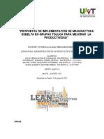 Análisis e Implementación de Un Modelo de Manufactura