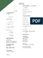 Honors Physics Equations