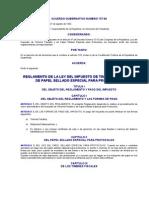 ACUERDO GUBERNATIVO 737-92 REGLAMENTO DE LA LEY DEL IMPUESTO DE TIMBRES FISCALES Y DE PAPEL SELLADO ESPECIAL PARA PROTOCOLOS