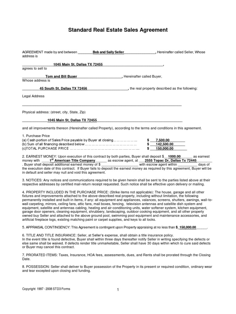 Home Sellers Re Sales Contract Filled In Example Pdf Loans