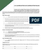 Lead Disclosure Form