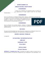 DECRETO NUMERO 1-85 LEY ELECTORAL Y DE PARTIDOS POLÍTICOS (Y sus Reformas)