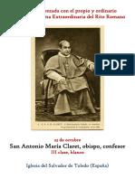 23 de Octubre.- San Antonio María Claret. Propio y Ordinario de la santa misa