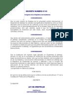 DECRETO NÚMERO 67-95 Ley de Arbitraje