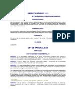 DECRETO NÚMERO 1613 LEY DE NACIONALIDAD