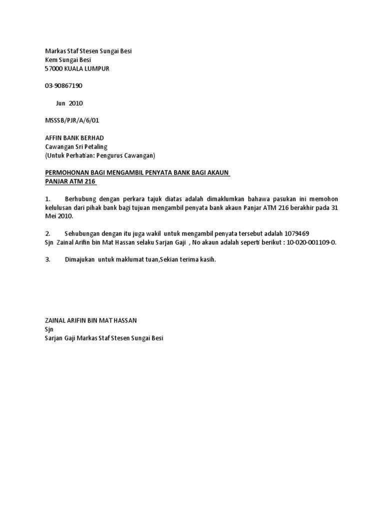 Contoh Surat Rasmi Kepada Bank Islam 13 Descargar