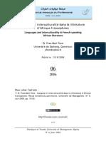 Dr Yves-Abel Feze, Langues et interculturalité dans la littérature d'Afrique francophone