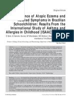2. prevalencia de eczema atopico y sintomas relacionados en niños escolares brasileños de ISAAC fase 3