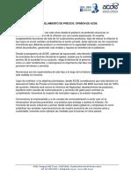Declaración de ACDE sobre el control de precios