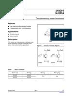 2n3055 Datasheet Power Tranzistor