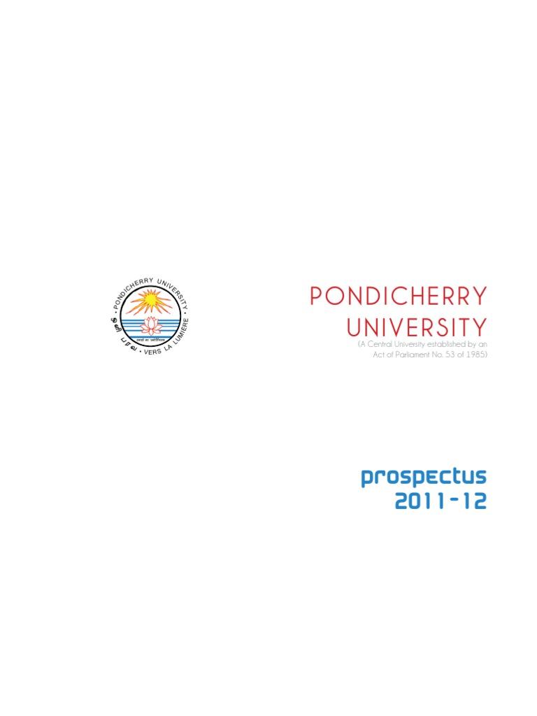 Pondicherry university prospectus 2011 2012 university and college pondicherry university prospectus 2011 2012 university and college admission course credit fandeluxe Gallery