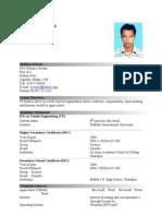 Cv of Hossain Ahmed
