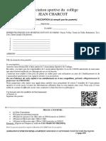 fiche inscription 2021