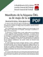 Manifesto de la hispana ĜKL por la 1a de majo