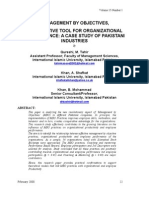 Management by Objectives an Effective Tool for Organizational Performance a Case Study of Pakistani