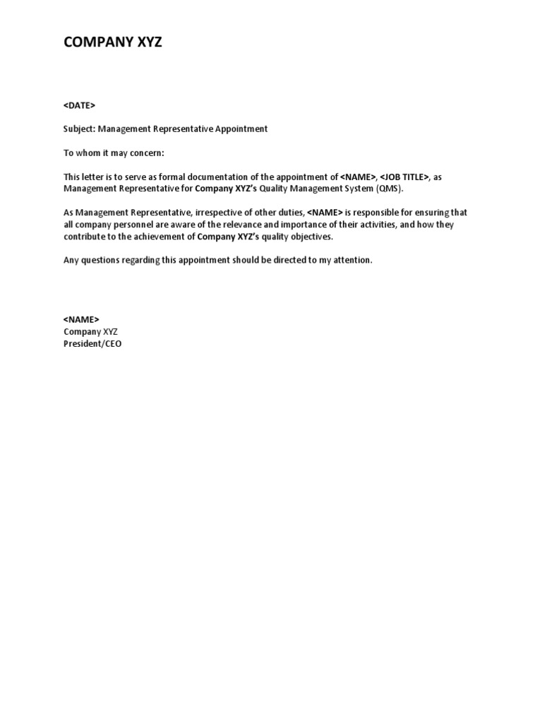 Iso 9001 appointment letter management rep spiritdancerdesigns Image collections
