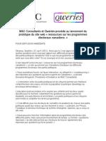 M&C Consultants et Qweries procède au lancement du prototype du site web «ressources sur les programmes électoraux canadiens »