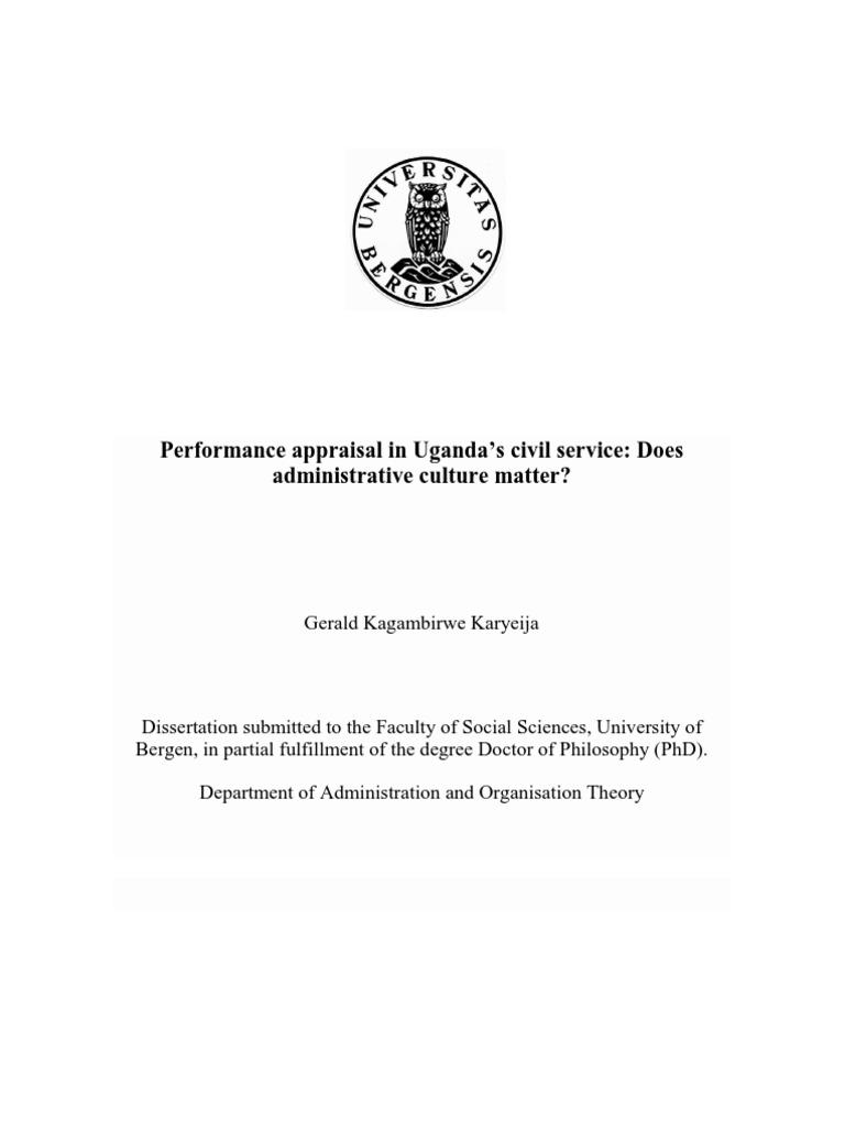 Dissertation proposal on performance appraisal