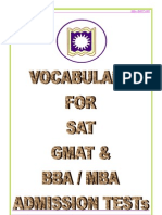 Vocabulary for SAT, GMAT, BBA/MBA admission test.