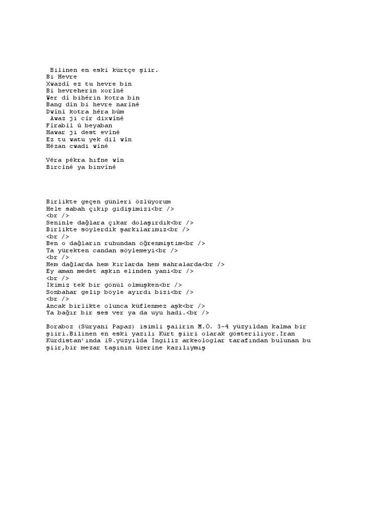 Bilinen En Eski Kürtçe şiir