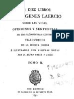 LOS DIEZ LIBROS  DE DIÓGENES LAERCIO  SOBRE LAS VIDAS,  OPINIONES Y SENTENCIAS  DE LOS FILÓSOFOS MAS ILUSTRES. Tomo 2.