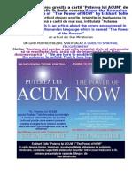"Despre Puterea Lui ACUM de Eckhart Tolle/About ""The Power of NOW"" by Eckhart Tolle"