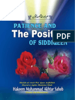 Patience and the Position of Siddiqeen by Shaikh-ul-Arab wal Ajam Arifbillah Hazrat-e-Aqdas Maulana Shah Hakeem Muhammad Akhtar Sahab (db)