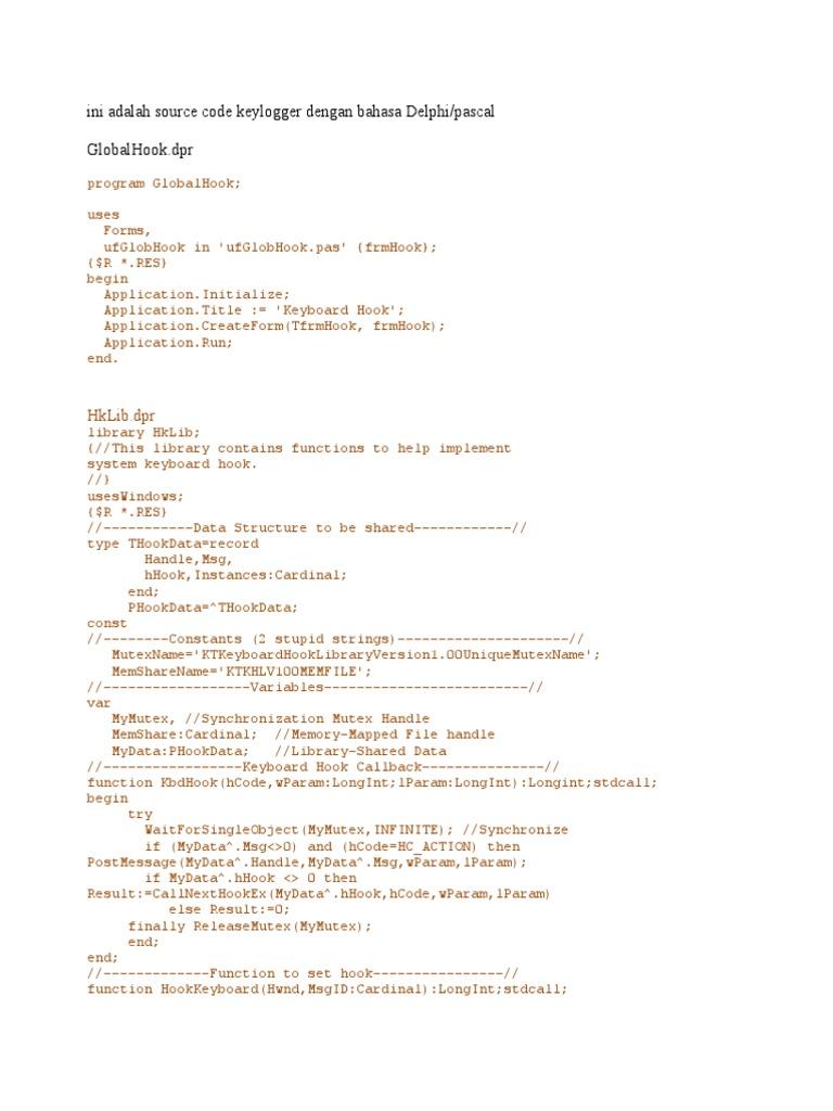 Ini Adalah Source Code Keylogger Dengan Bahasa Delphi | Areas Of ...