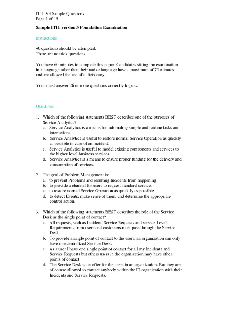7 itil v3 foundation sample exam 3 itil business xflitez Gallery