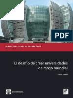 Notes El Desafio de Crear Universidades de Rango Mundial