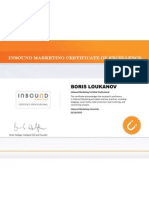 Boris Loukanov Inbound Marketing Certificate