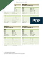Academic Calendar 2011 - 2012