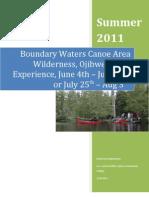 Bwcaw Canoe Trip 2011