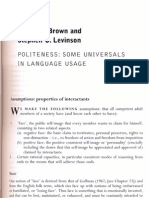 Politeness - Some Universals in Language Usage[1]