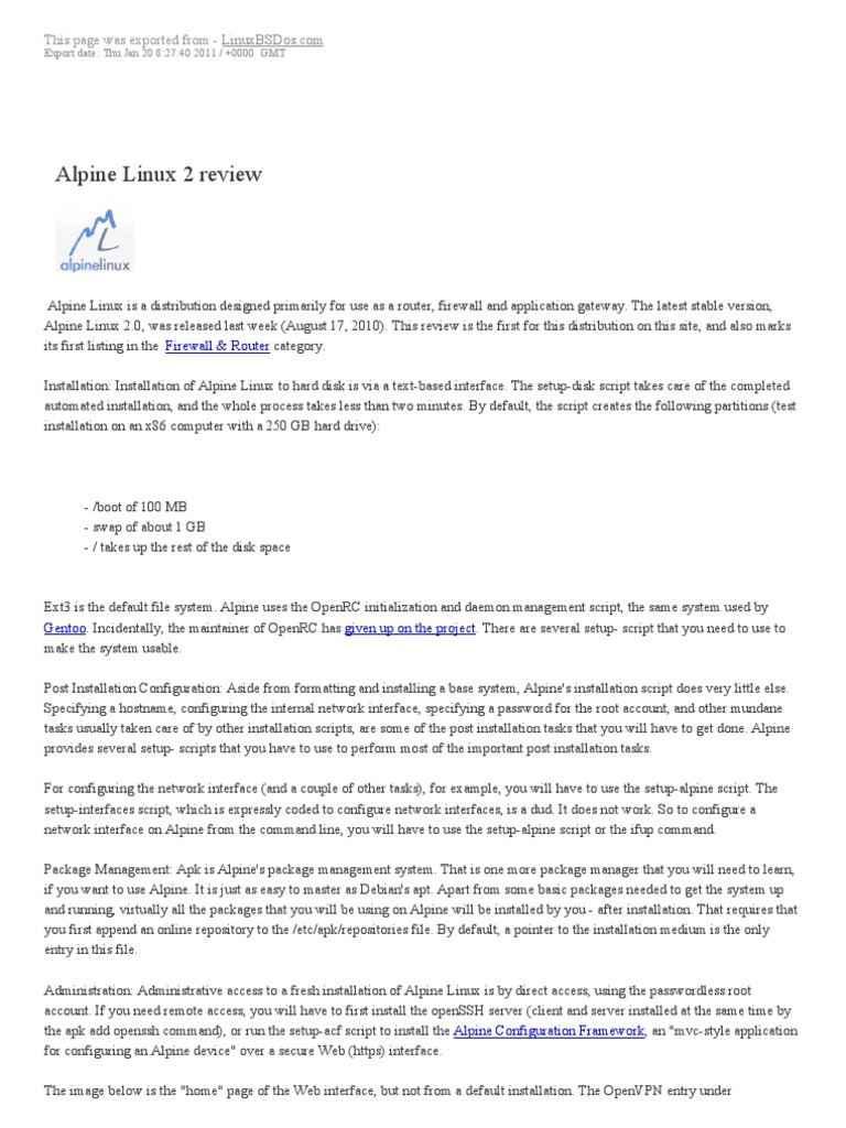 Alpine Linux | Web Application | Linux