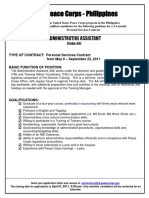 Peace Corps Administrative Assistant Personal Services Contract