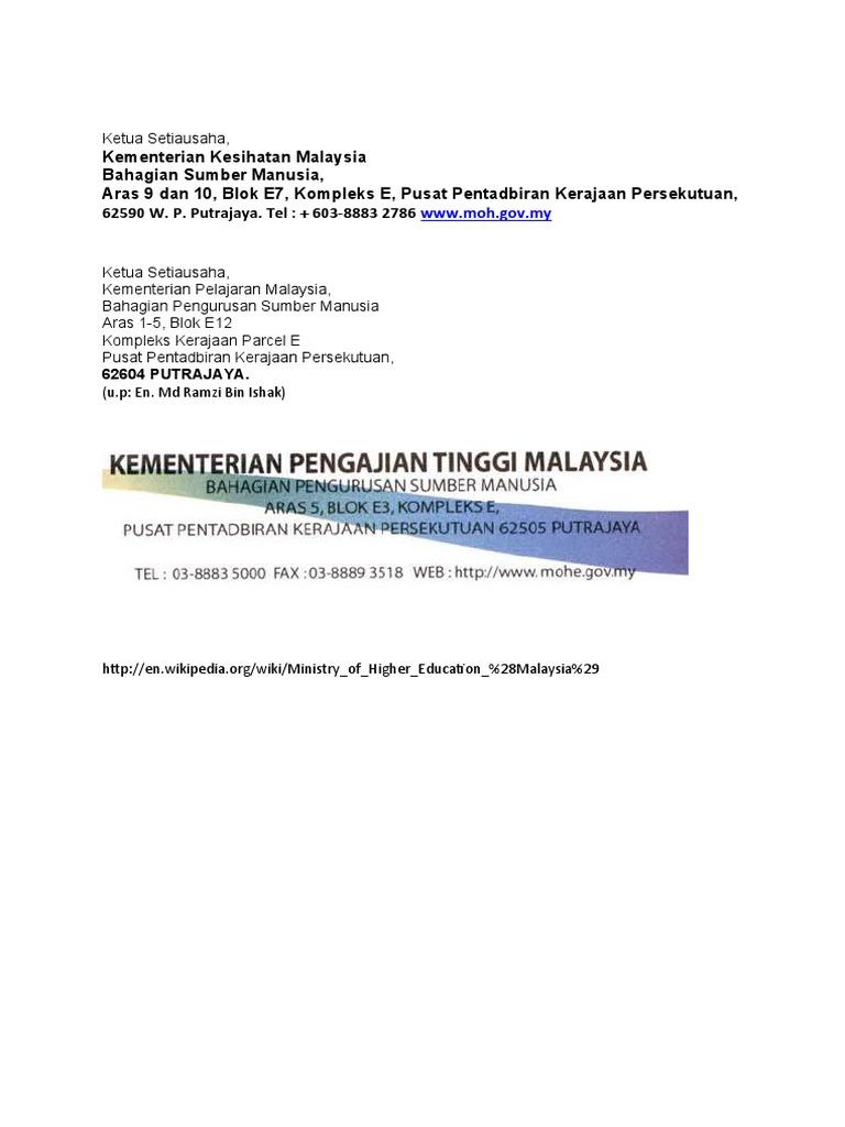 Address Kementerian Kesihatan Malaysia