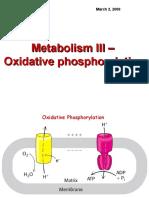 Lecture 3 Oxidative Phosphorylation Metabolism III