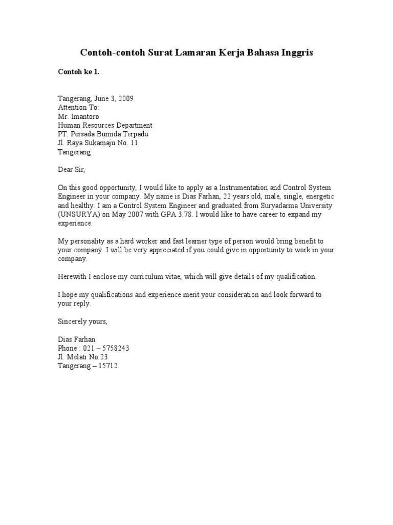 Contoh Surat Lamaran Terbaik Dalam B Inggris Curriculum Business