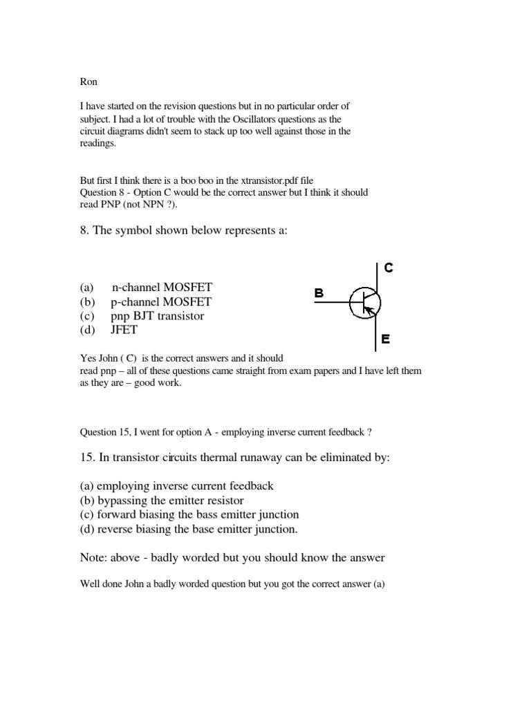 Oscillator Test Answers | Bipolar Junction Transistor (24 views)