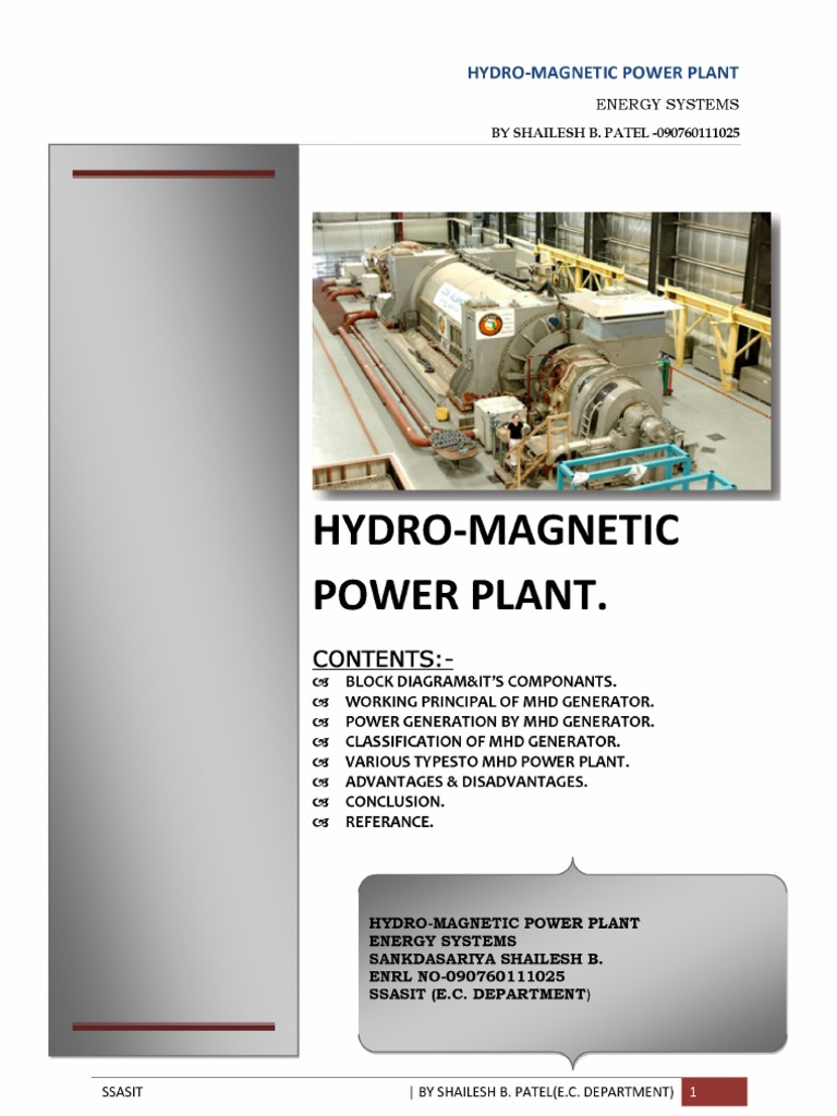 Hydro Magnetic Power Plant Block Diagram