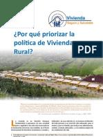 ¿Por qué priorizar la política de Vivienda Rural?