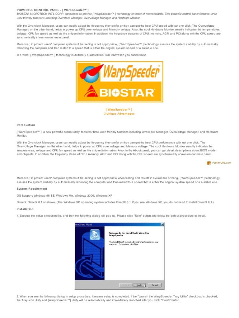 warpspeeder de biostar para windows xp