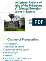 Knowledge systems analysis of the University of the Philippines Los Baños' selected extension programs in Laguna