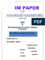 Hrm Term Paper Synopsis